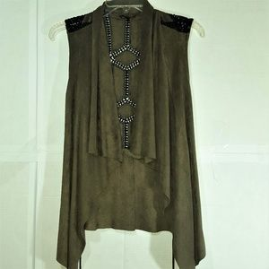 Open Vest Army Green Faux Suede Black Knitting